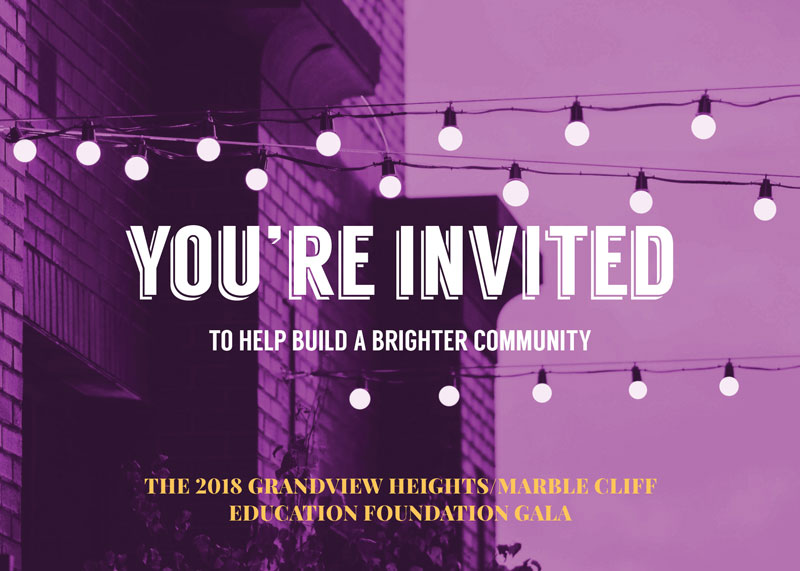Grandview Heights Marble Cliff Education Foundation 2018 Gala, purple invitation with string lights and text that says